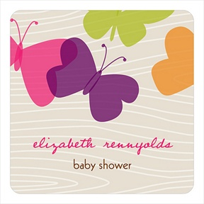 Bright Butterfly Stickers -- Baby Shower Favor Tags