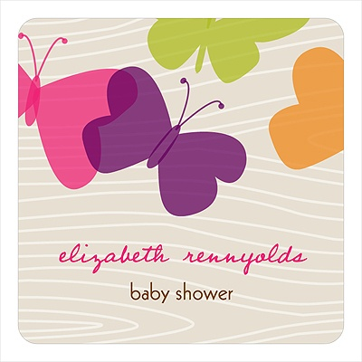 Bright Butterfly Stickers Baby Shower Favor Tags
