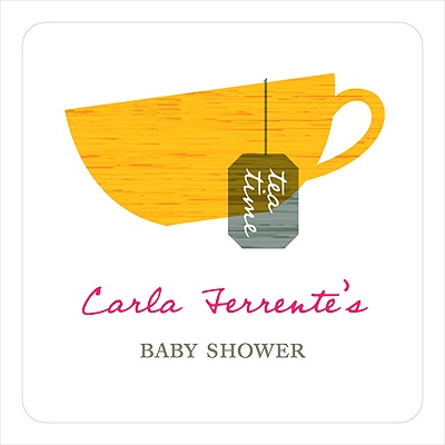 Tea Party -- Baby Shower Favor Stickers