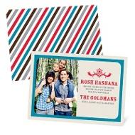 Stripes Meet Star of David Rosh Hashanah Greeting Cards