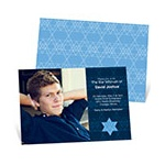 Geometric Star of David -- Bar Mitzvah Photo Invitations