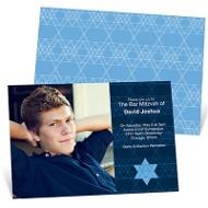 Geometric Star of David Bar Mitzvah Photo Invitations