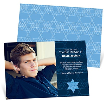 Geometric Star of David Bar Mitzvah Photo Invitations