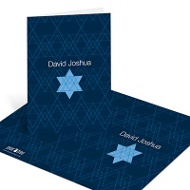 Geometric Star of David Bar Mitzvah Thank You Cards