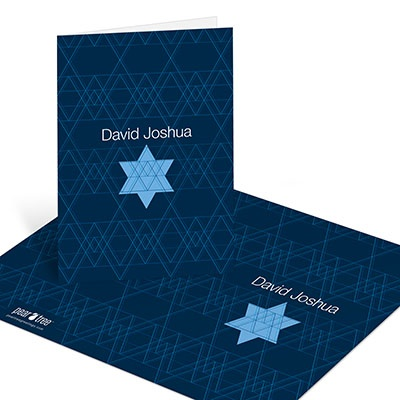 Geometric Star of David -- Bar Mitzvah Thank You Cards