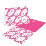 Trendy Floral Pattern Bat Mitzvah Thank You Cards