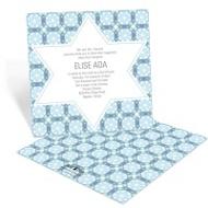 Custom Kaleidoscope Designs in Blue Contemporary Bar Mitzvah Invita
