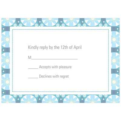 Custom Kaleidoscope Designs in Blue Unique RSVP Cards