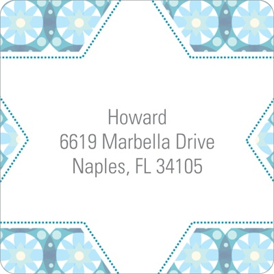 Custom Kaleidoscope Designs in Blue Trendy Address Labels