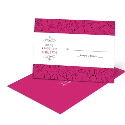 Chic Swirls Bar Mitzvah Response Cards
