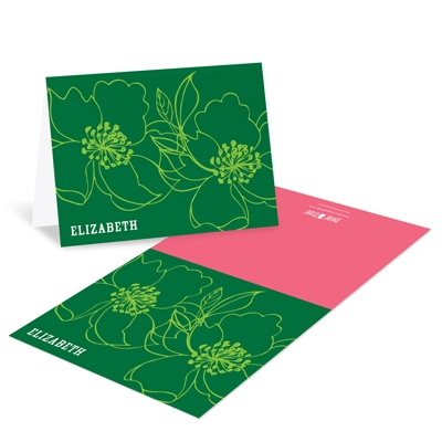 Modern Floral Stenciling -- Bat Mitzvah Thank You Cards