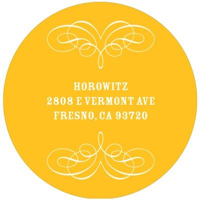 Round Flourish Design Bar & Bat Mitzvah Address Labels
