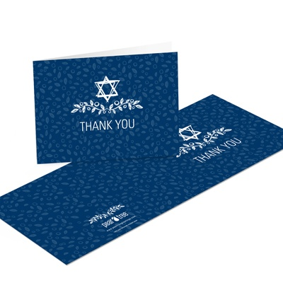 Sketched Star of David Bar Mitzvah Thank You Cards
