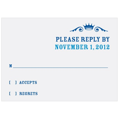 Crown Emblem in Blue Bar Mitzvah Reply Cards