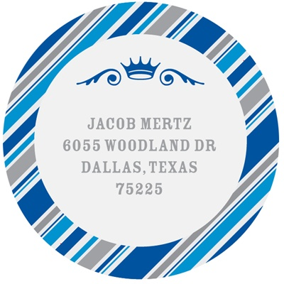 Round the Crown in Blue  Bar Mitzvah Address Labels
