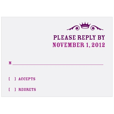 Crown Emblem in Purple Bat Mitzvah Reply Cards