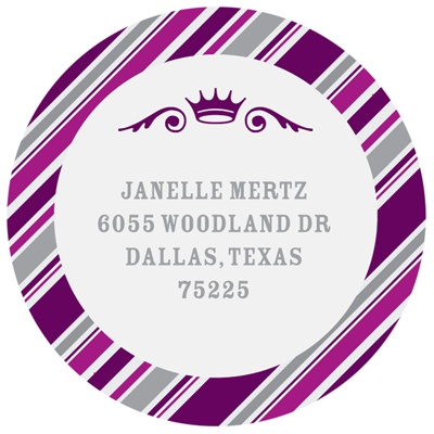 Round the Crown in Purple --  Bat Mitzvah Address Labels