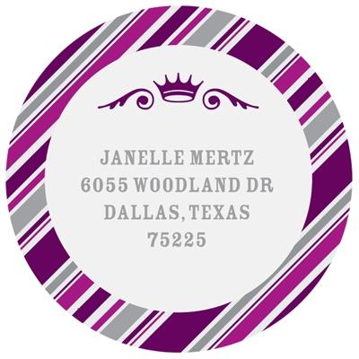 Round the Crown in Purple  Bat Mitzvah Address Labels