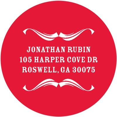 Simple Swirls Personalized Round Address Labels