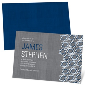 Grosgrain Sketch -- Modern Bar Mitzvah Invitations