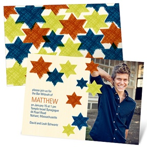 Trendy Traveling Stars -- Photo Bar Mitzvah Invitations