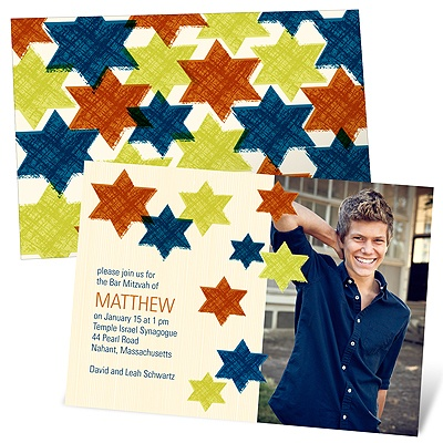 Trendy Traveling Stars Photo Bar Mitzvah Invitations