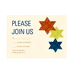 Brushed Stars of David -- Bar Mitzvah RSVP Cards