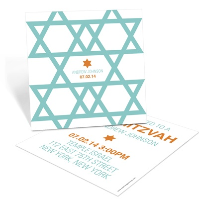 Molded Stars Custom Bar Mitzvah Invitations