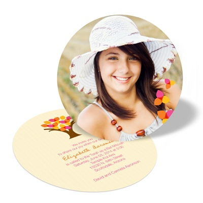 Round the Tree Bat Mitzvah Invitations