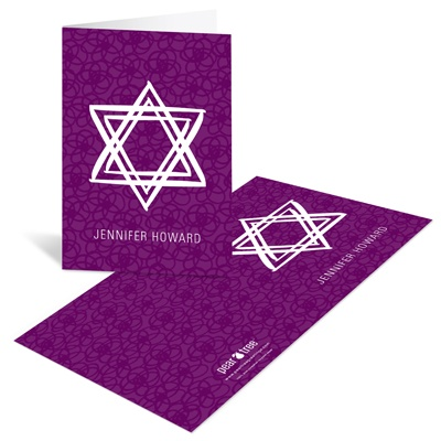 Linear Star of David in Purple Chic Thank You Cards