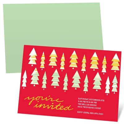 Stylish Christmas Trees Holiday Party Invitations