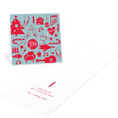 Charming Doodles in Aqua -- Modern Christmas Cards