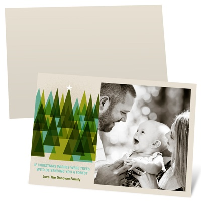 Modern Christmas Trees Recycled Holiday Photo Cards