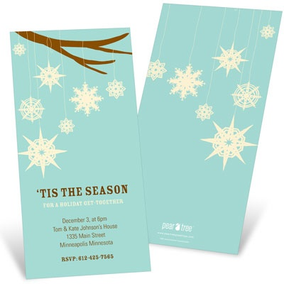 Whimsical Snowflakes Holiday Party Invitations