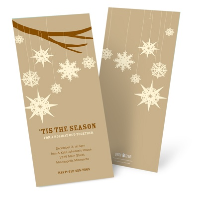 Whimsical Snowflakes in Tan -- Custom Holiday Greeting Cards