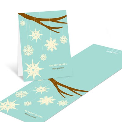 Whimsical Snowflakes Christmas Thank You Cards