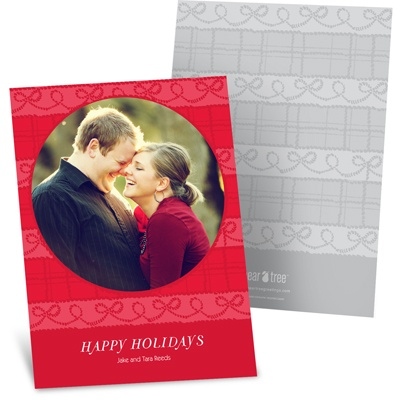 Tied with Cheer Photo Christmas Cards