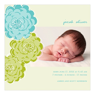 Floral Wonder -- Photo Baby Boy Birth Announcements