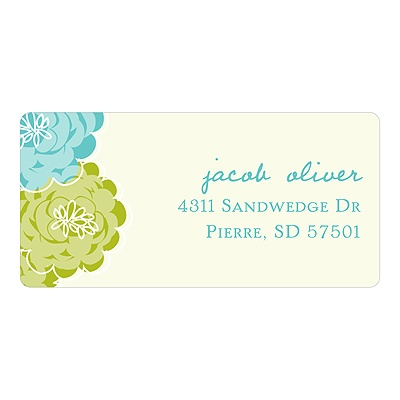 Peek-a-Boo Flowers in Green -- New Baby Address Labels