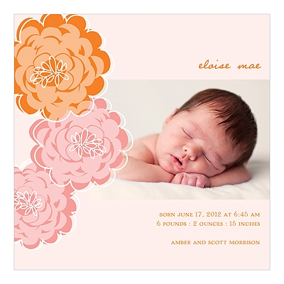 Floral Wonder -- Photo Baby Girl Birth Announcements