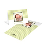 Gingham Print Treatment in Green -- Photo Baby Thank You Cards