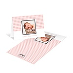 Gingham Print Treatment in Pink -- Photo Baby Thank You Cards