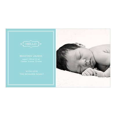 Elegant Greeting for a Boy -- Baby Photo Birth Announcements
