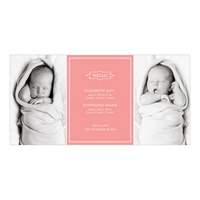 Elegant Greeting Twins -- Multiples Announcements