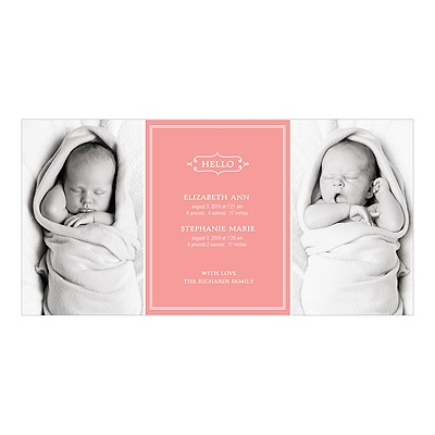Elegant Greeting Twins Multiples Announcements