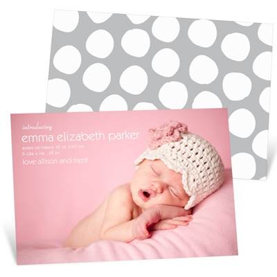 Simply Stated -- Baby Girl Photo Birth Announcements