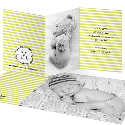 Striped and Swirled Monogram Green Birth Announcements