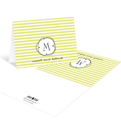 Striped and Swirled Monogram Green Baby Thank You Cards