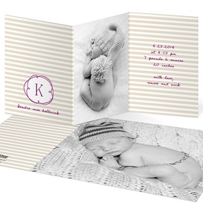 Striped And Swirled Monogram Tan -- Birth Announcements