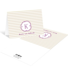 Striped and Swirled Monogram Tan -- Baby Thank You Cards